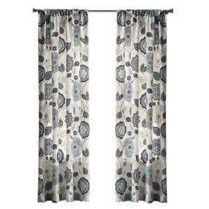 Floral Cottage Light Filtering Window Panel in Indigo - 50 in. W x 95 in. L