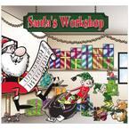 7 ft. x 8 ft. Santa's Workshop-Outdoor Holiday 2-Car Split Garage Door Decor Mural for Split Car Garage, 2-Graphic Kit