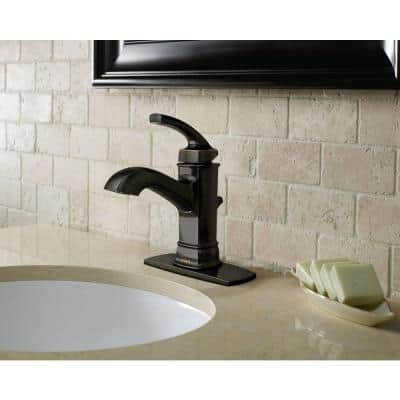 Hensley Single Hole Single-Handle Bathroom Faucet in Mediterranean Bronze
