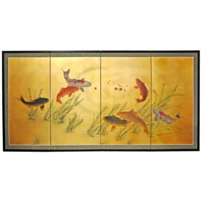 """36 in. x 72 in. """"Gold Leaf Seven Lucky Fish"""" Wall Art"""