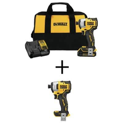 ATOMIC 20-Volt MAX Li-Ion Brushless Cordless Compact 1/4 in. Impact Driver Kit w/ 20-V Compact Impact Driver (Tool-Only)