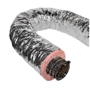 10 in. x 25 ft. Insulated Flexible Duct R8 Silver Jacket