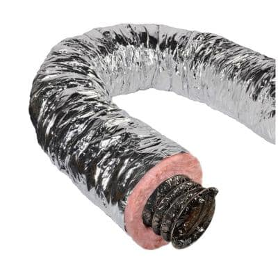 4 in. x 25 ft. Insulated Flexible Duct R8 Silver Jacket