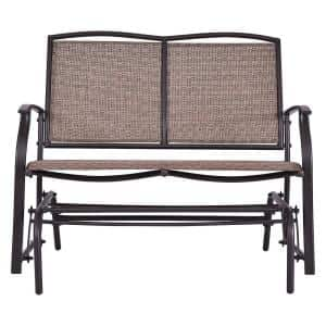 2-Person Metal Outdoor Glider Pation Loveseat in Brown