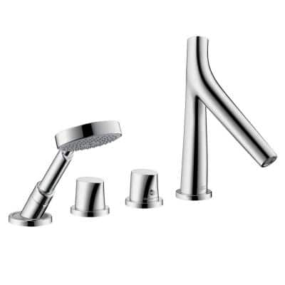 Starck Organic 2-Handle Deck-Mount Roman Tub Faucet with Hand Shower in Chrome