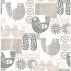 Spring Chickens Gray Wallpaper Sample