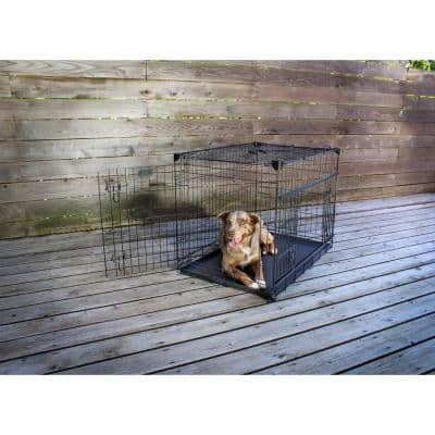 36 in. Sliding Double Door Dog Crate with Patented Corner Stabilizers, Removable Tray, Rubber Feet and Carrying Handle