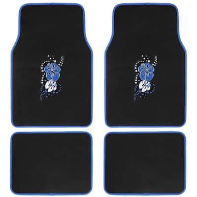 Blue Hawaiian Flower MT-452-BL Design 4 Pieces Carpet Car Floor Mats