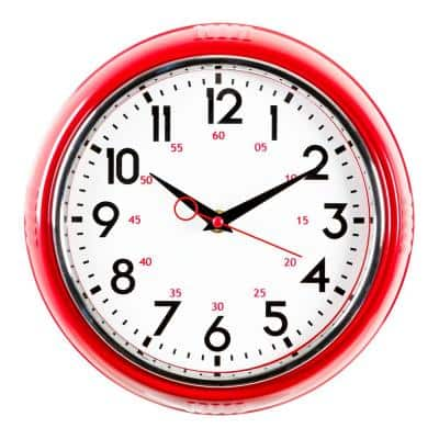 """kieragrace KG Retro Wall Clock with Chrome Bezel and Convex Glass Lens - Red, 9.75"""", 4-Pack"""