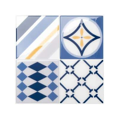 Vintage Azur Blue / Yellow 9 in. x 9 in. Vinyl Peel and Stick Tile (2.38 sq. ft./ 4-pack)
