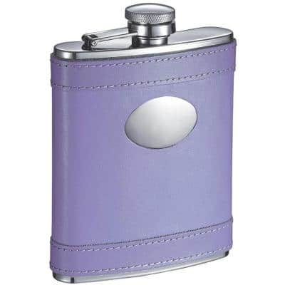 Lave Lavander Leather Stainless Steel 6 oz. Hip Flask