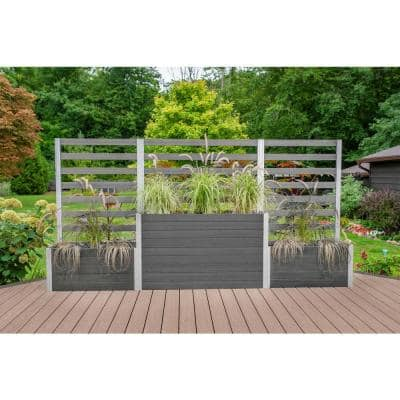 Urbana 11 ft. Slate Gray Composite Parklette Planter with Trellis