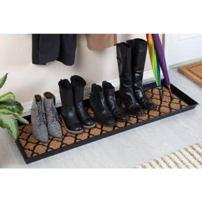 46.5 in. x 14 in. x 1.5 in. Black Metal Boot Tray with Trellis Coir and Rubber Insert