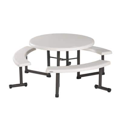 Outdoor Resin Almond 44 in. Round Folding Picnic Table