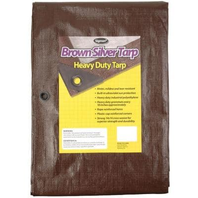 8 ft. x 10 ft. Brown Silver Heavy Duty Tarp