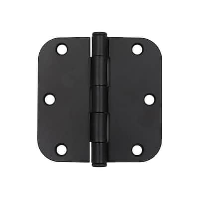 3-1/2 in. x 5/8 in. Radius Matte Black Door Hinge Value Pack (24-Pack)