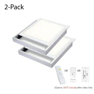 2 ft. x 2 ft. 400-Watt Equivalent 4200 LM Integrated LED Dimmable Drop Ceiling Flat Panel White Troffer w/ Frames (2-Pk)