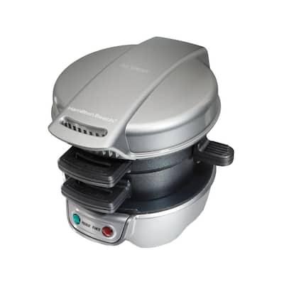 600 W Silver Non-Stick Breakfast Sandwich Maker