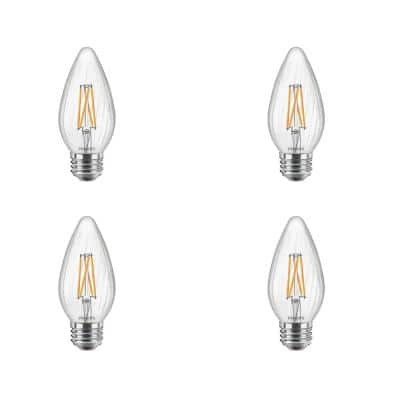 60-Watt Equivalent F15 Dimmable LED Post Light Bulb Soft White Clear with Warm Glow Light Effect (4-Pack)