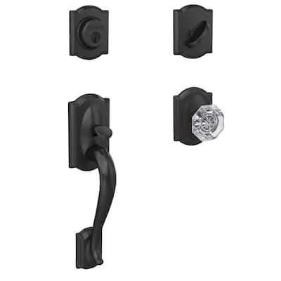Custom Camelot Matte Black Single Cylinder Door Handleset with Alexandria Glass Door Knob with Camelot Trim