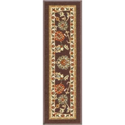Kings Court Tabriz Brown Traditional Oriental Rubber Back Non-Skid 9 in. x 31 in. Stair Tread Cover (Set of 7)