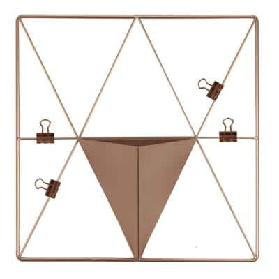 Rose Gold Triangle Metal Grid with Pocket Wall Organizer