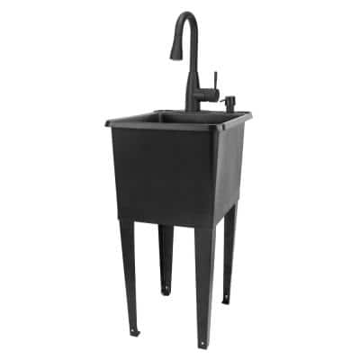17.75 in. x 23.25 in. Thermoplastic Freestanding Space Saver Utility Sink in Black - Black Faucet, Soap Dispenser