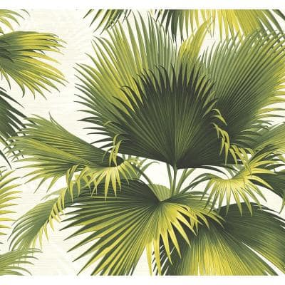 Endless Summer Green Palm Paper Strippable Roll Wallpaper (Covers 60.8 sq. ft.)
