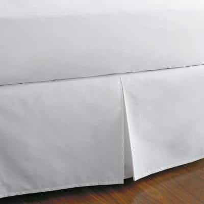 Classic Cotton Percale 14 in. White Solid Twin XL Bed Skirt