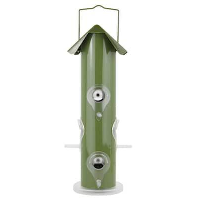 Green Metal Tube Wild Bird Feeder - 1 lb. Capacity