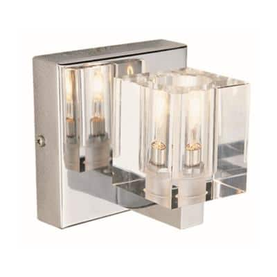 Seaglass 1-Light Polished Chrome Halogen Wall Sconce with Crystal Shade