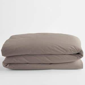 Cinder Solid Supima Cotton Percale Twin Duvet Cover