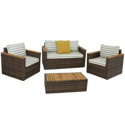 Kenmare 4-Piece Rattan and Acacia Outdoor Patio Furniture Set
