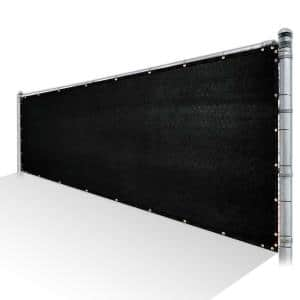 5 ft. x 10 ft. Black Privacy Fence Screen Mesh Fabric Cover Windscreen with Reinforced Grommets for Garden Fence