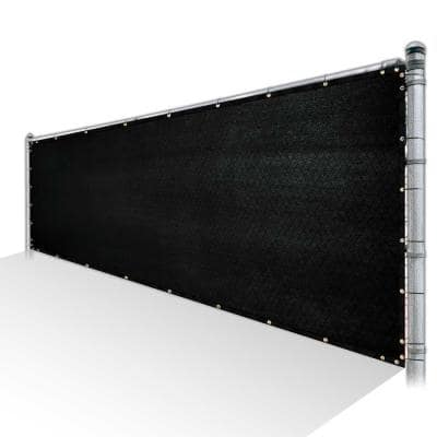 6 ft. x 25 ft. Black Privacy Fence Screen Mesh Fabric Cover Windscreen with Reinforced Grommets for Garden Fence
