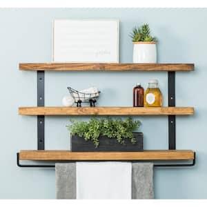 Industrial Grace 5.5 in. x 36 in. x 20 in. Walnut Pine Wood 3-Tier with Towel Bar Decorative Wall Shelf with Brackets