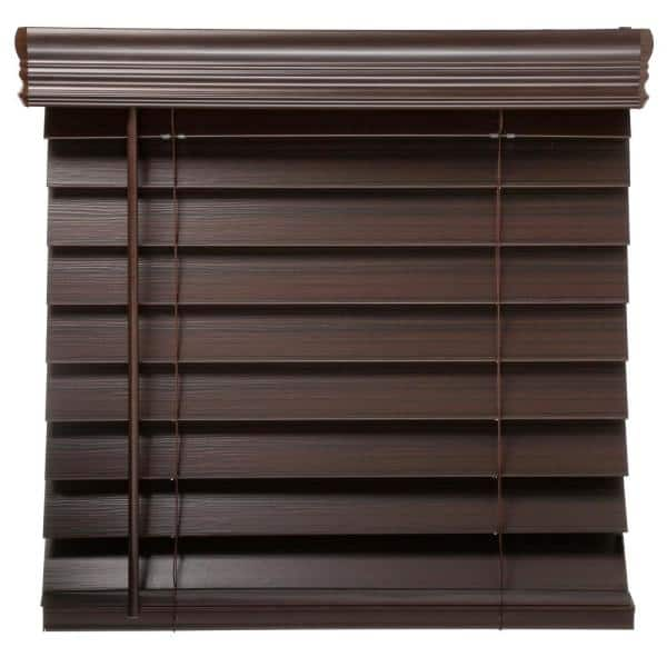 Home Decorators Collection Espresso Cordless Room Darkening 2 5 In Premium Faux Wood Blind For Window 72 In W X 64 In L 10793478362134 The Home Depot