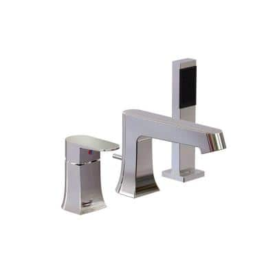 Endless Series 1-Handle Deck-Mount Roman Tub Faucet with Hand Shower in Polished Chrome