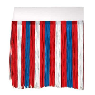 Amscan 29 In X 9 Ft Patriotic Fringe Table Skirt 570027 The Home Depot