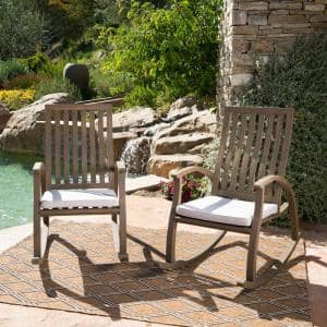 Cayo Brown Wood Outdoor Rocking Chair with Gray Cushion (2-Pack)