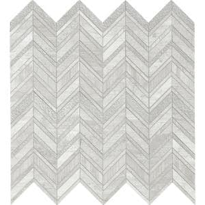 White Quarry Chevron 12 in. x 12 in. x 10 mm Mixed Marble Mosaic Tile (10 sq. ft. / case)