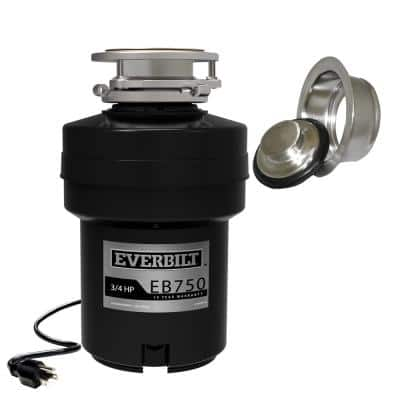Designer Series 3/4 HP Continuous Feed Garbage Disposal with Brushed Nickel Sink Flange and Attached Power Cord