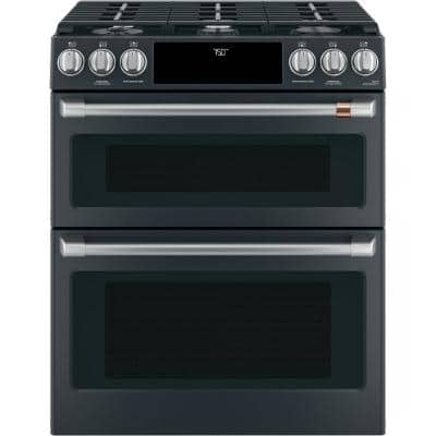 30 in. 6.7 cu. ft. Slide-In Smart Double Oven Gas Range with Self-Cleaning Convection in Matte Black