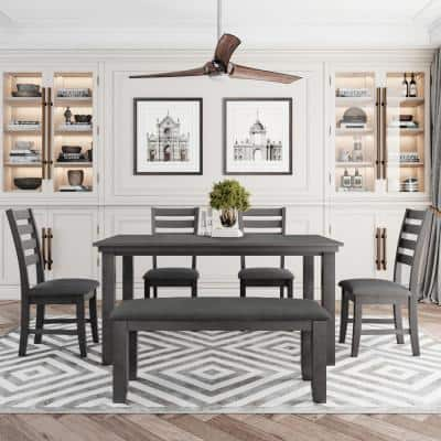 6-Piece Gray Rustic Wood Dining Set with Bench