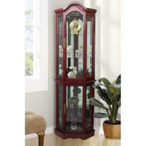 Floor Standing Cherry 5-Sided Lighted Curio Cabinet