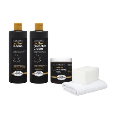 Leather Complete Restoration Kit - 17 oz. Cleaner, 17 oz. Protection Cream, 8.5 oz. Re-Coloring Balm-Dark Brown
