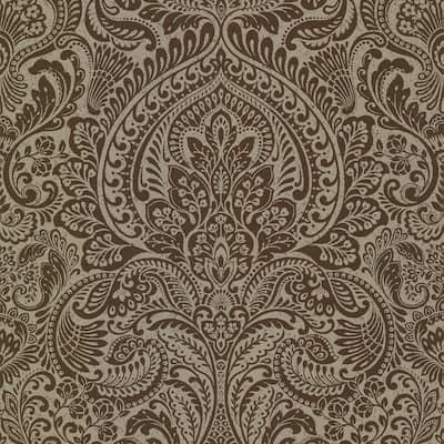 Artemis Bronze Floral Damask Wallpaper Sample