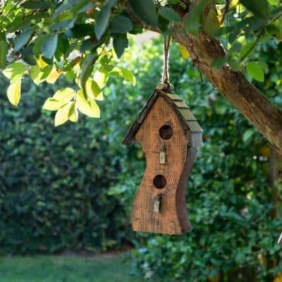 17 in. Tall Outdoor Abstract Swirly Hanging Wooden Birdhouse, Orange