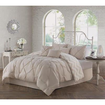 Ella Pinch Pleat Taupe Queen Reversible Comforter with Bedskirt