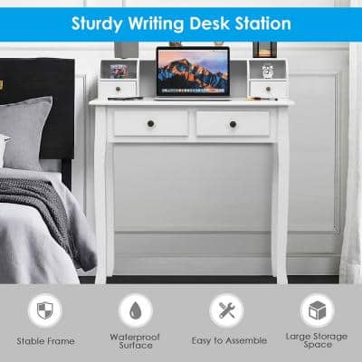 31.5 in. White Rectangle Wood 4-Drawer Writing Desk